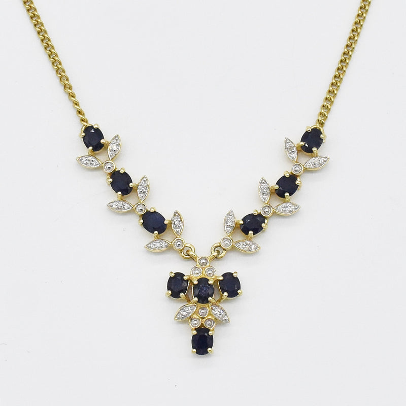 "14k Yellow Gold Estate 18"" Sapphire & Diamond Necklace"