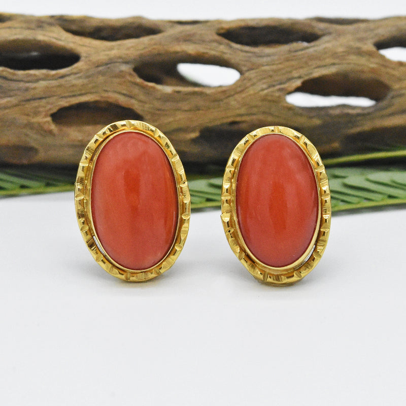18k Yellow Gold Estate Oval Coral Post Earrings