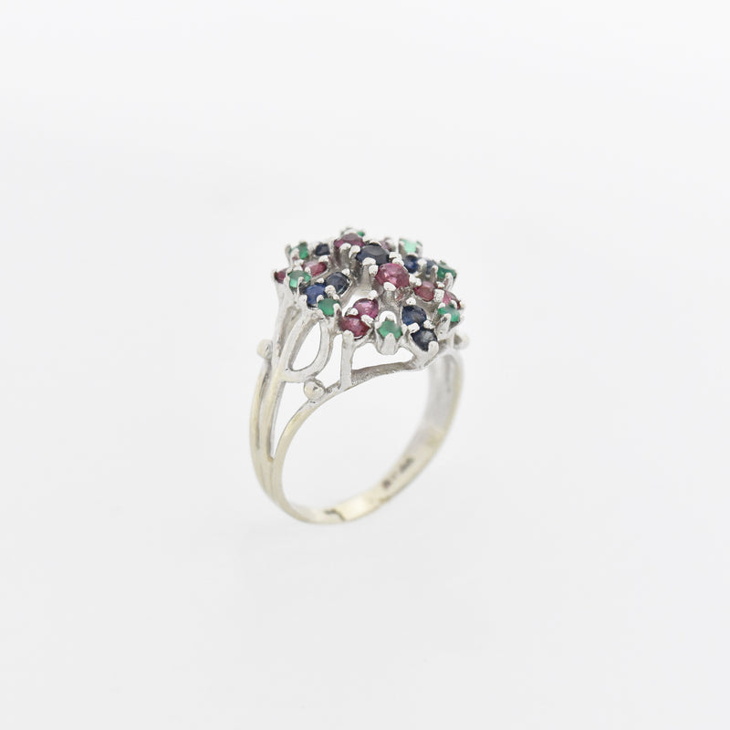 14k White Gold Emerald, Sapphire & Ruby Cocktail Ring Size 8.75