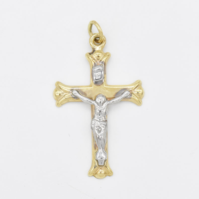 10k Yellow & White Gold Estate Crucifix/Cross Pendant