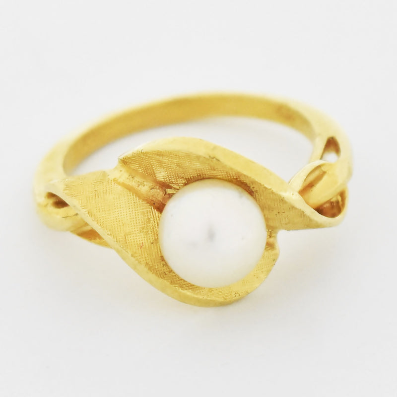 14k Yellow Gold Vintage Textured Twisted Pearl Ring Size 6.75