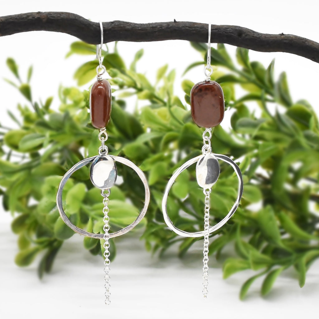Sterling Silver 925 Estate RLM STUDIO Mahogany Jasper Dangle Earrings