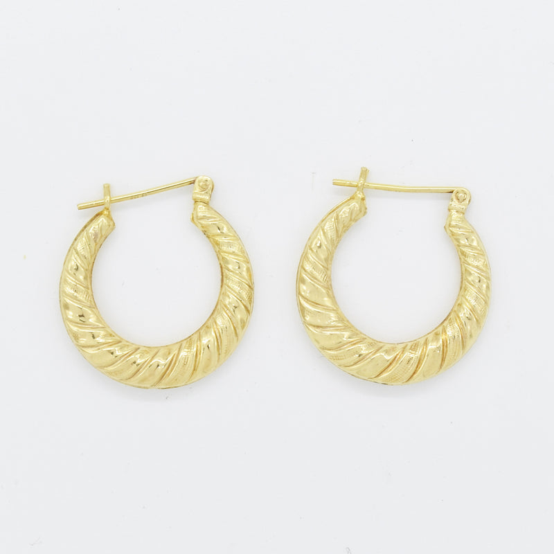 "14k Yellow Gold Estate Swirl 3/4"" Round Hoop Earrings"