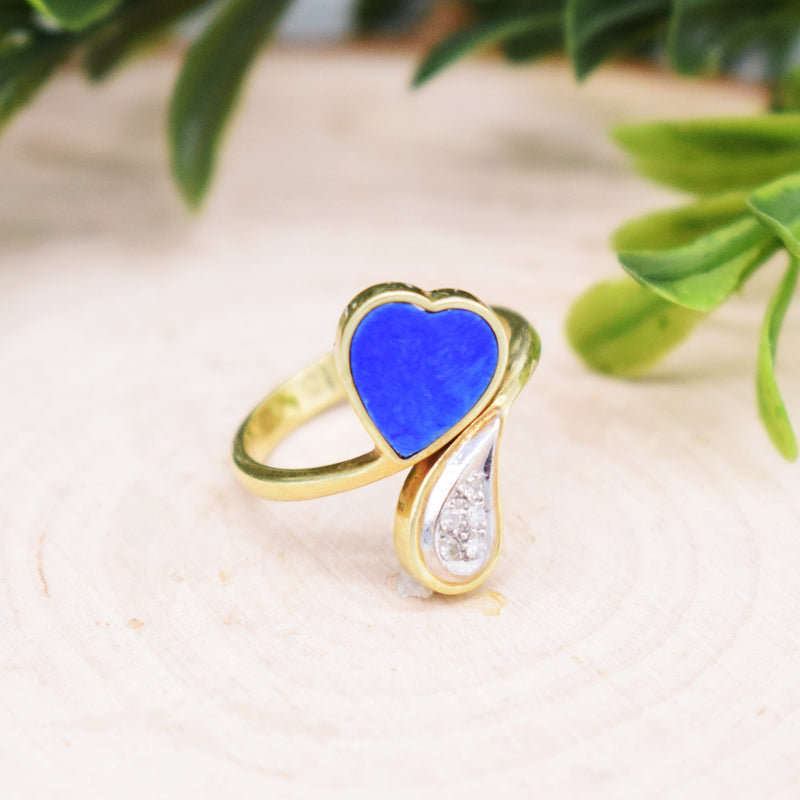 14k YG Lapis & Diamond Heart Wrap Ring Size 7