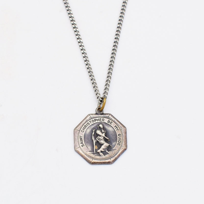 "S.S. 925 Vintage 30"" Curb Link St.Christopher Medallion Necklace"