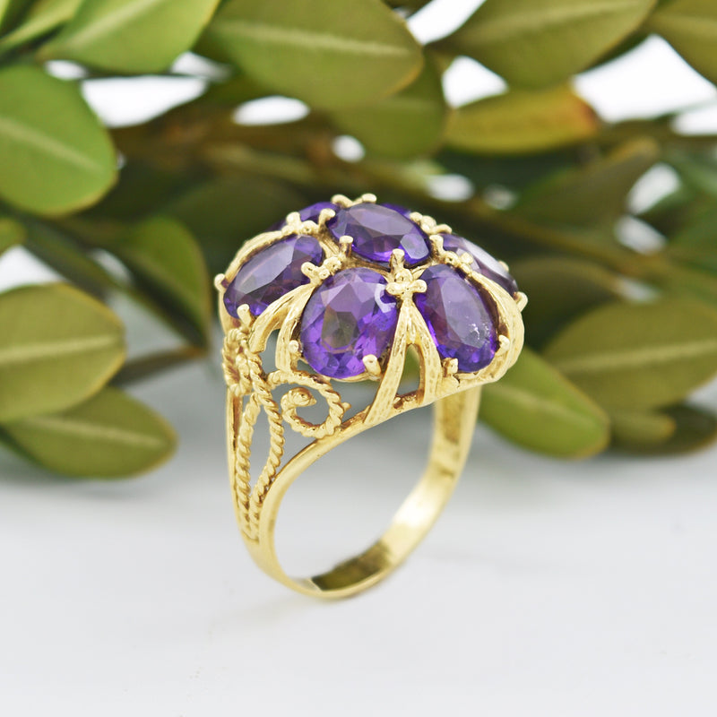 14k Yellow Gold 7 Stone Amethyst Open Work Cocktail Ring Size 9.5