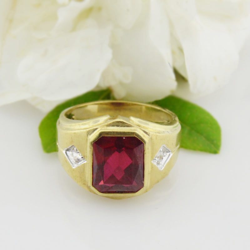 10k Yellow Gold Vintage Ruby & Quartz Ring Size 11.25