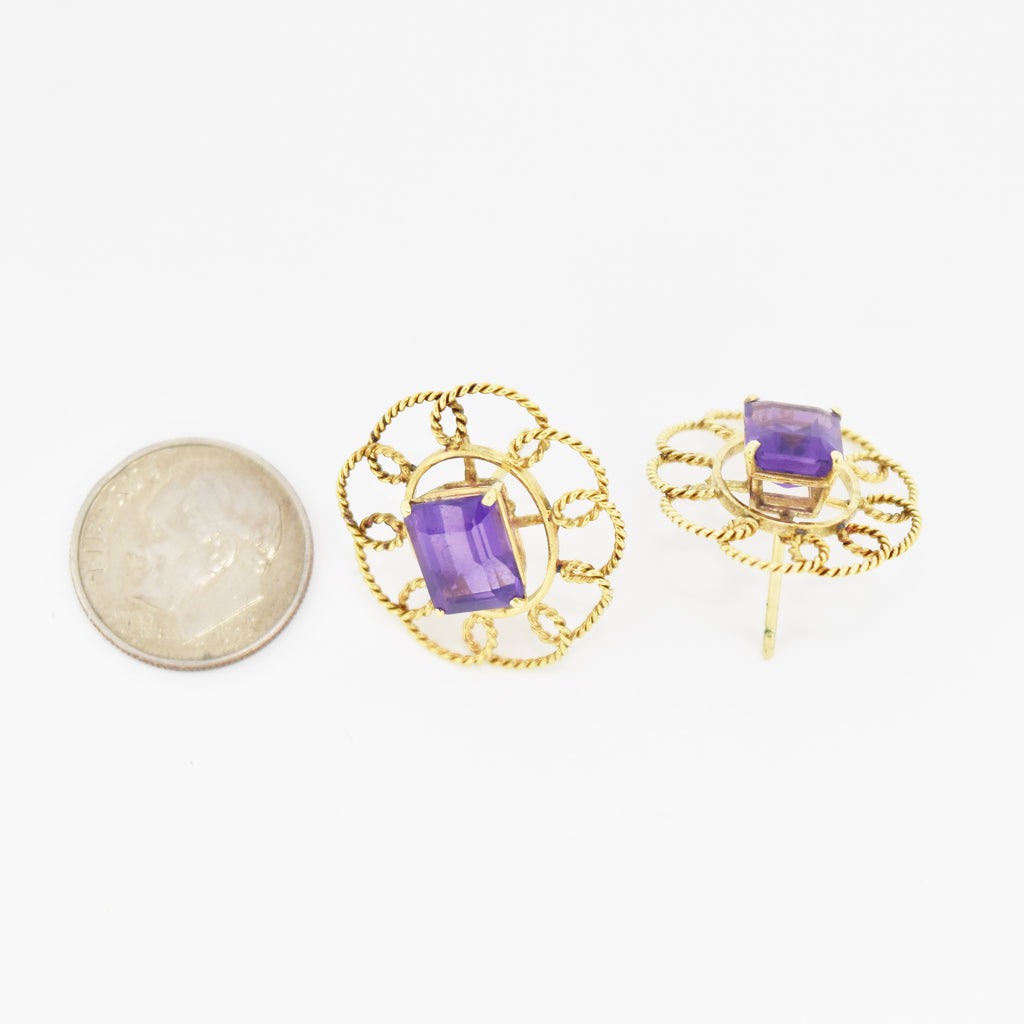 14k Yellow Gold Oval Open Work Amethyst Post Earrings