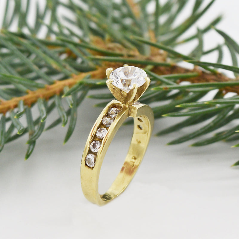 10k Yellow Gold Estate CZ Engagement Ring Size 5.5