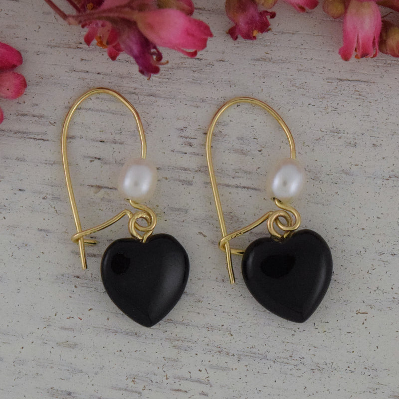14k Yellow Gold Heart Shape Black Jet & Pearl Drop/Dangle Earrings