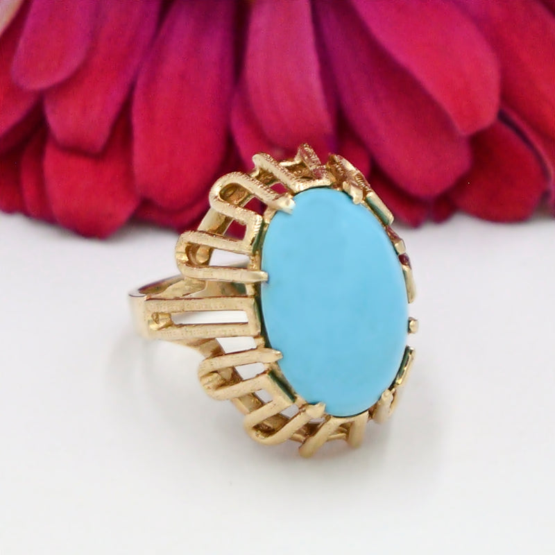 14k Yellow Gold Estate Open Setting Turquoise Gemstone Ring Size 6