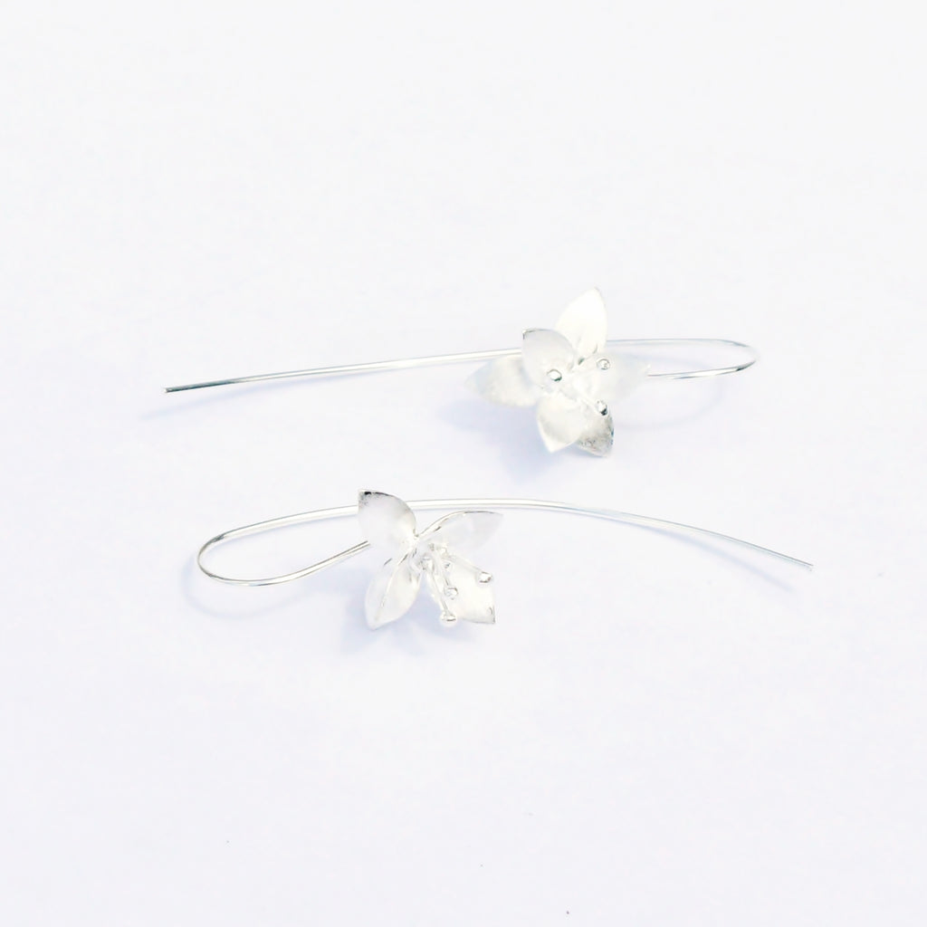 New Sterling 925 Textured Matt Flower Ear Climber/Creeper Earrings