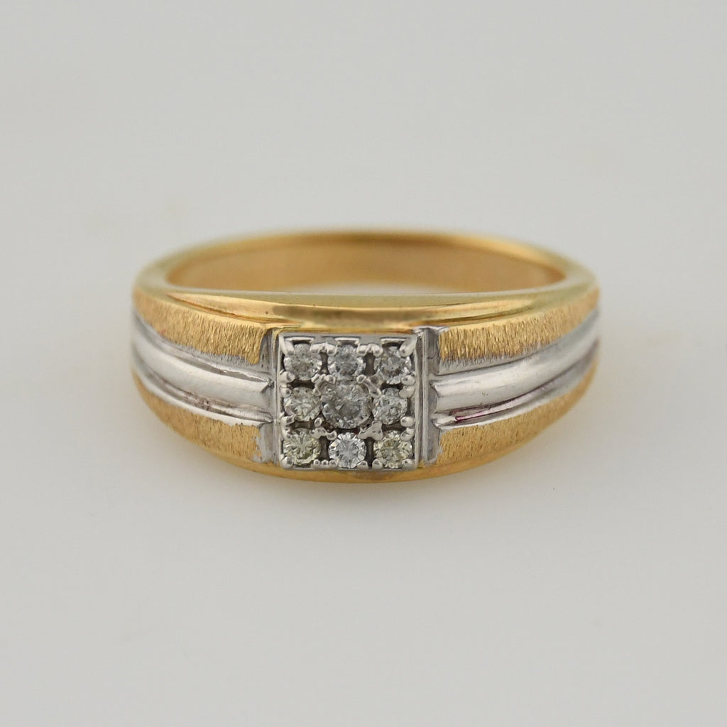 14k Yellow & White Gold Textured Square Diamond Cluster Ring Size 10