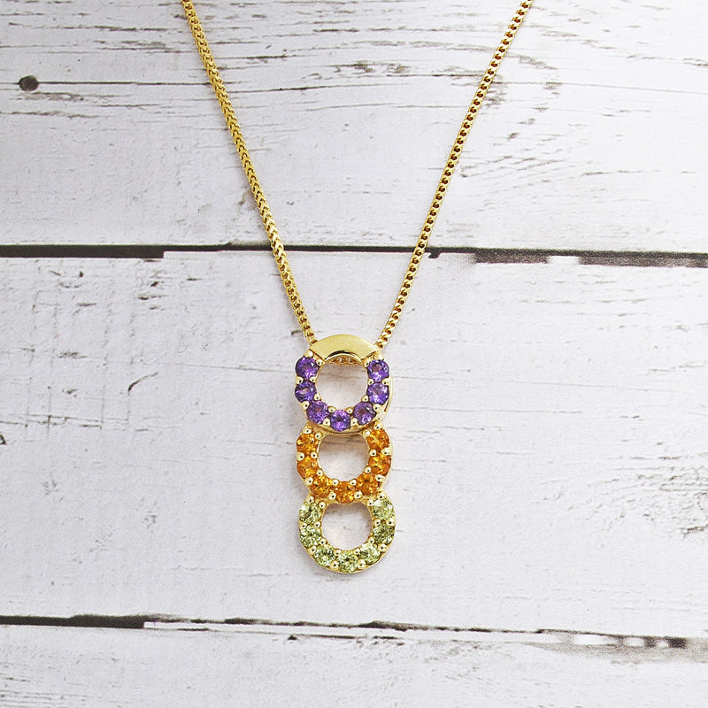 14k Yellow Gold 3 Circle Drop/Dangle Multi-Colored Gemstone Necklace