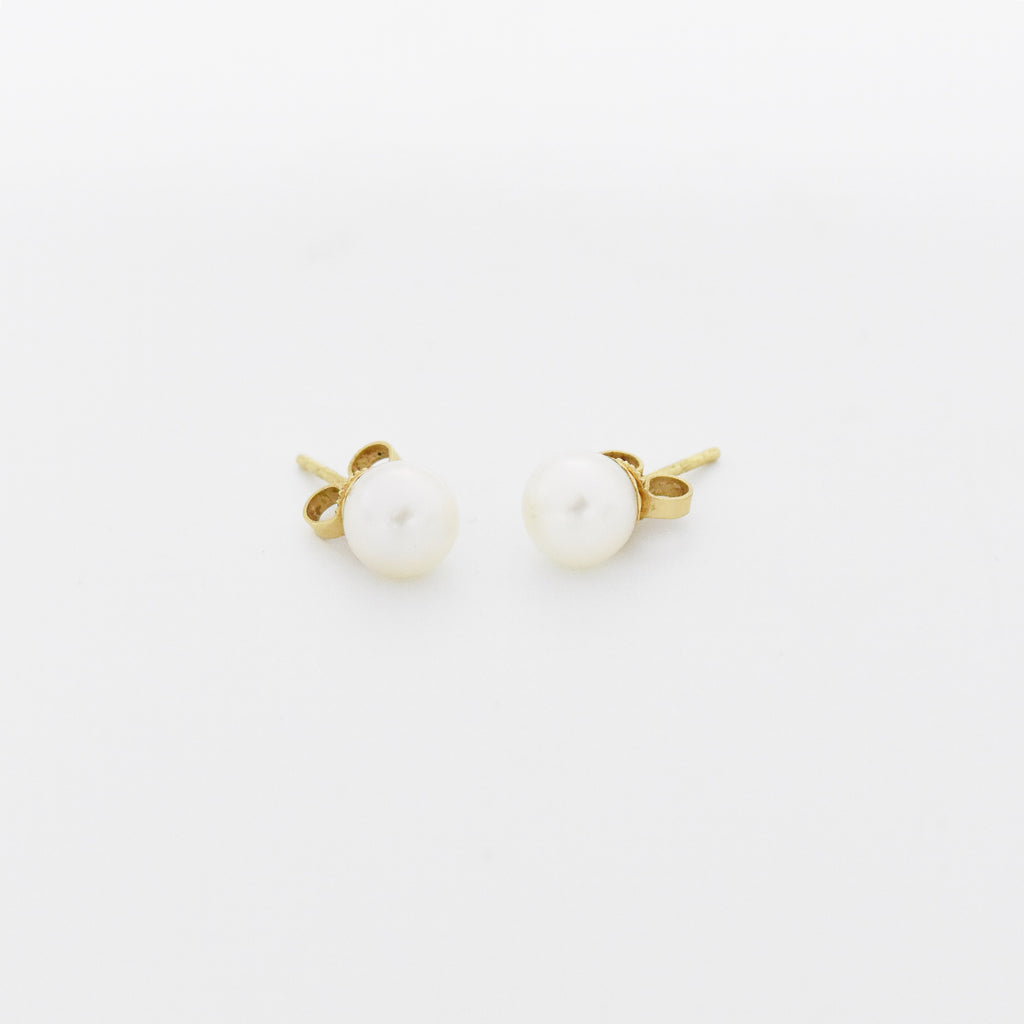 14k Yellow Gold Estate Pearl Post Earrings