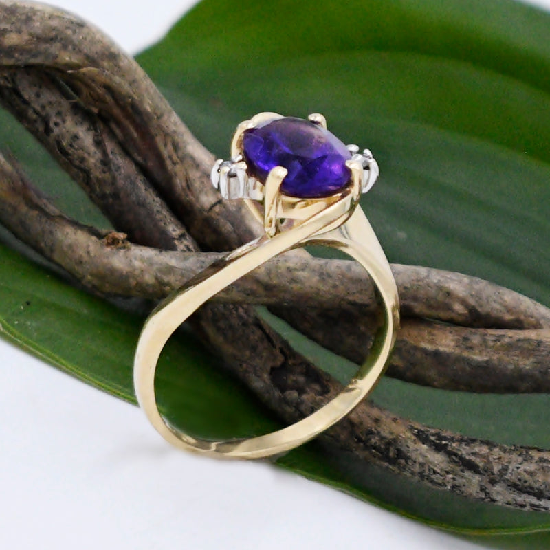 14k Yellow Gold Estate Swirl Amethyst & Diamond Ring Size 7