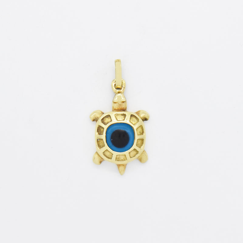 14k Yellow Gold Estate Textured All Seeing Eye Turtle Pendant