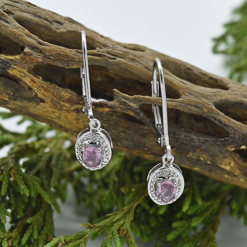 14k White Gold Estate Pink Sapphire & Diamond Leverback Earrings