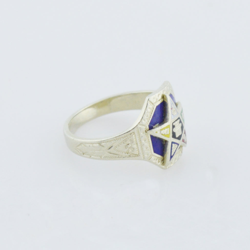 14k White Gold Antique Eastern Star Enamel Ring Size 4.5