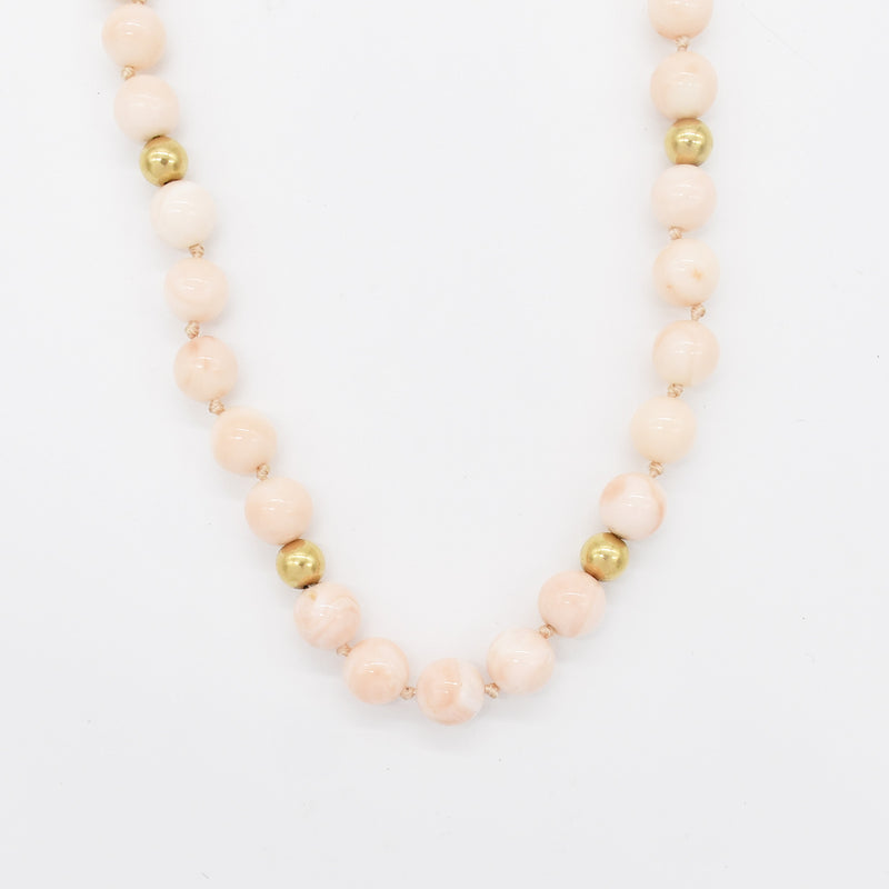 "14k Yellow Gold Estate Pink Coral 15.5"" Single Strand Necklace"