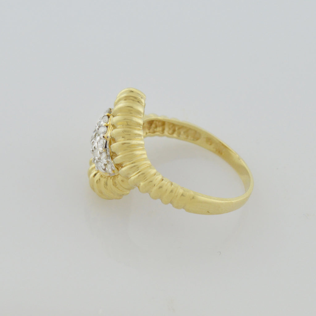 14k Yellow Gold Estate Diamond Wave Ring Size 8