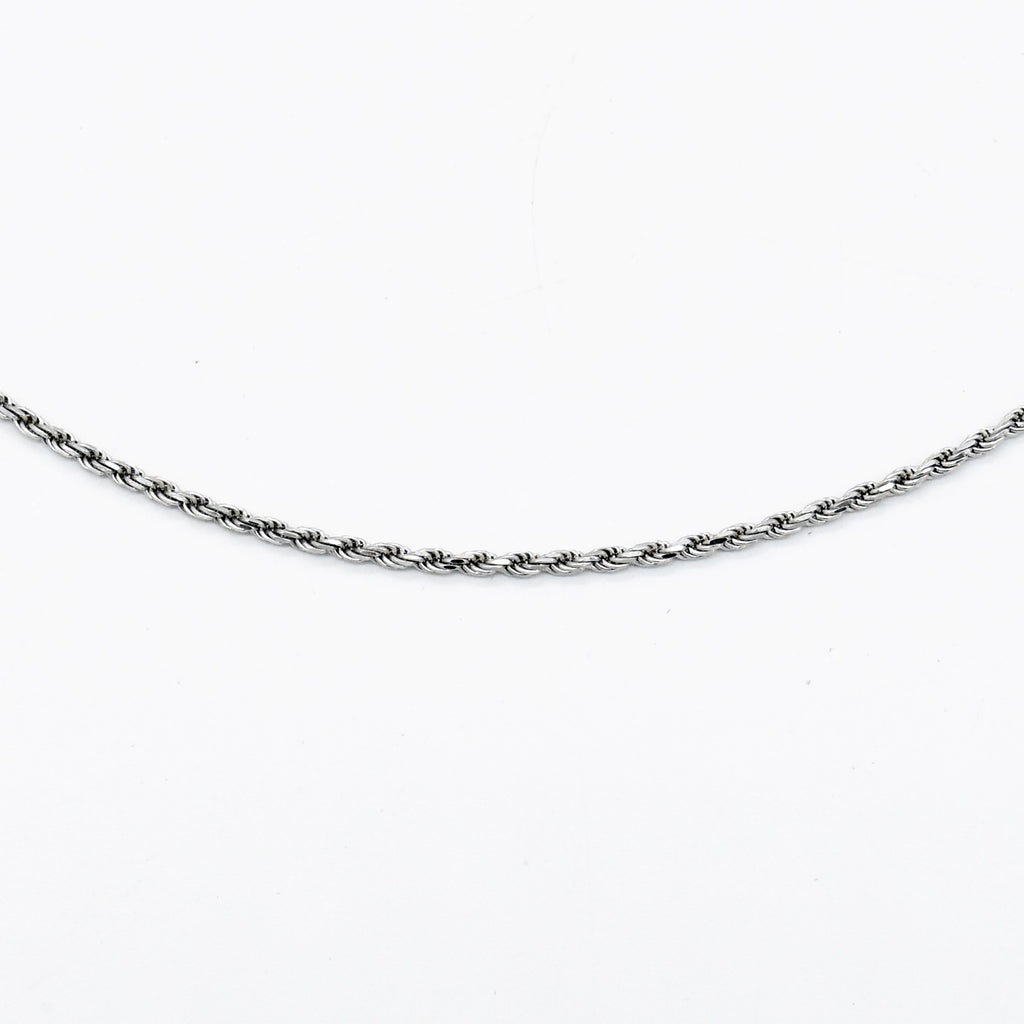 "18k White Gold Estate 17.75"" Rope Style Link Necklace/Chain"