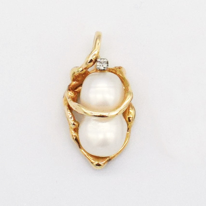 14k YG Estate Open Work Pearl Diamon 0.01 tcw Drop/Dangle Pendant