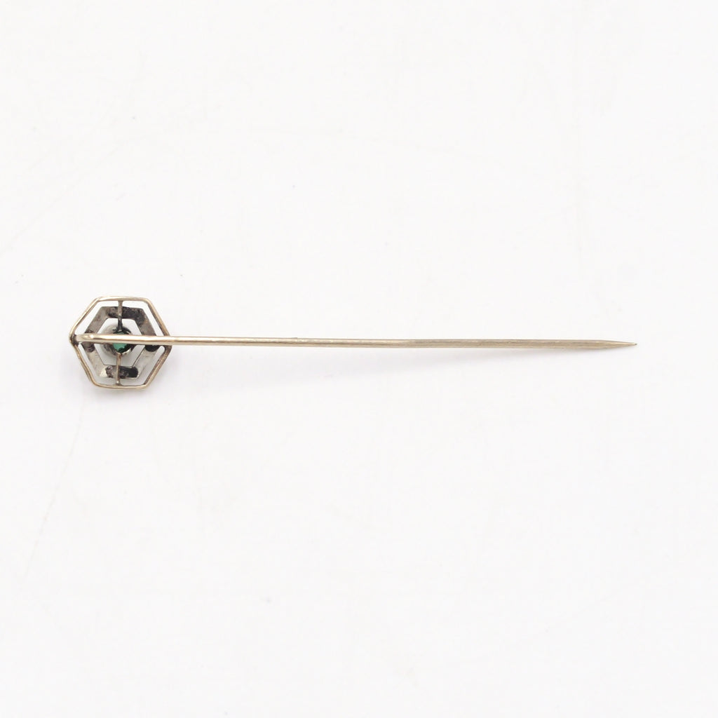 10k Yellow & White Gold Antique Ornate Green Gemstone Stick Pin