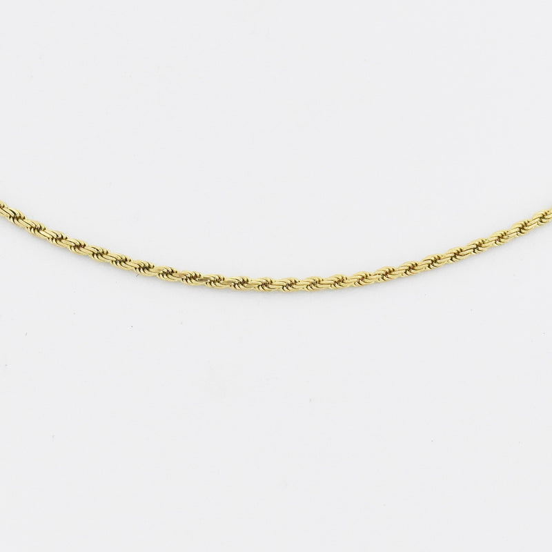 "14k Yellow Gold Estate 18.25"" Rope Link Chain/Necklace"