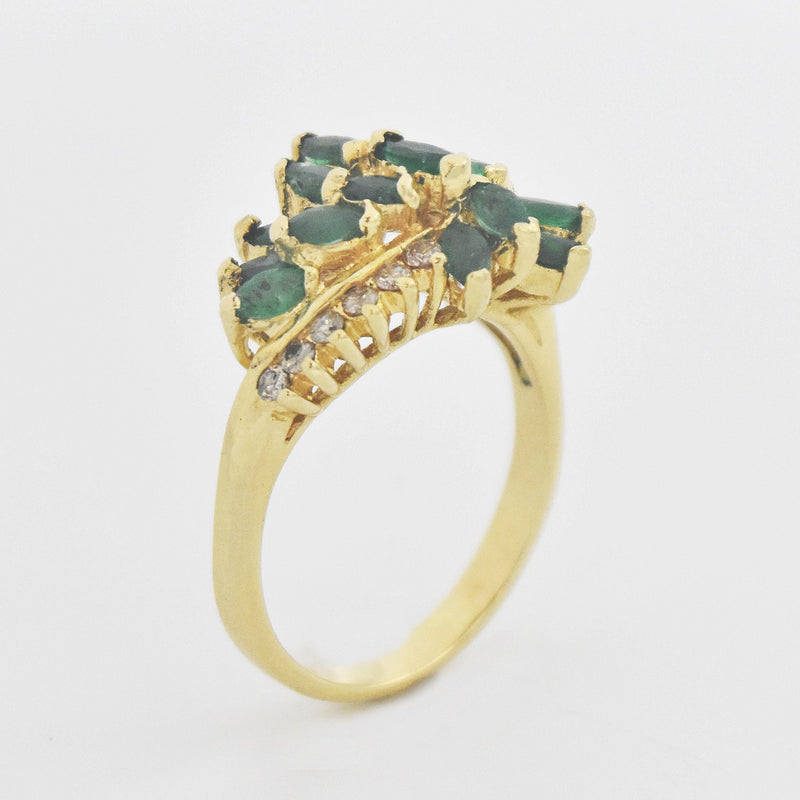 14k Yellow Gold Estate Emerald & Diamond Cocktail Ring Size 8.5