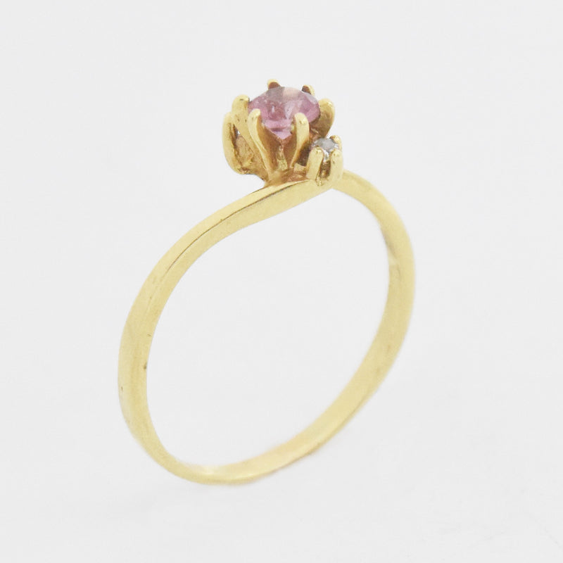 14k Yellow Gold Estate Amethyst & Diamond Ring Size 7.25