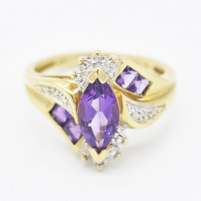 10k Yellow Gold Estate Swirl Amethyst & Diamond Ring Size 7