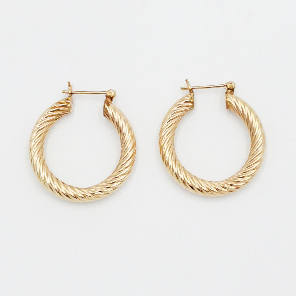 "14k Yellow Gold Estate 1"" Swirl Hoops/Hoop Earrings"