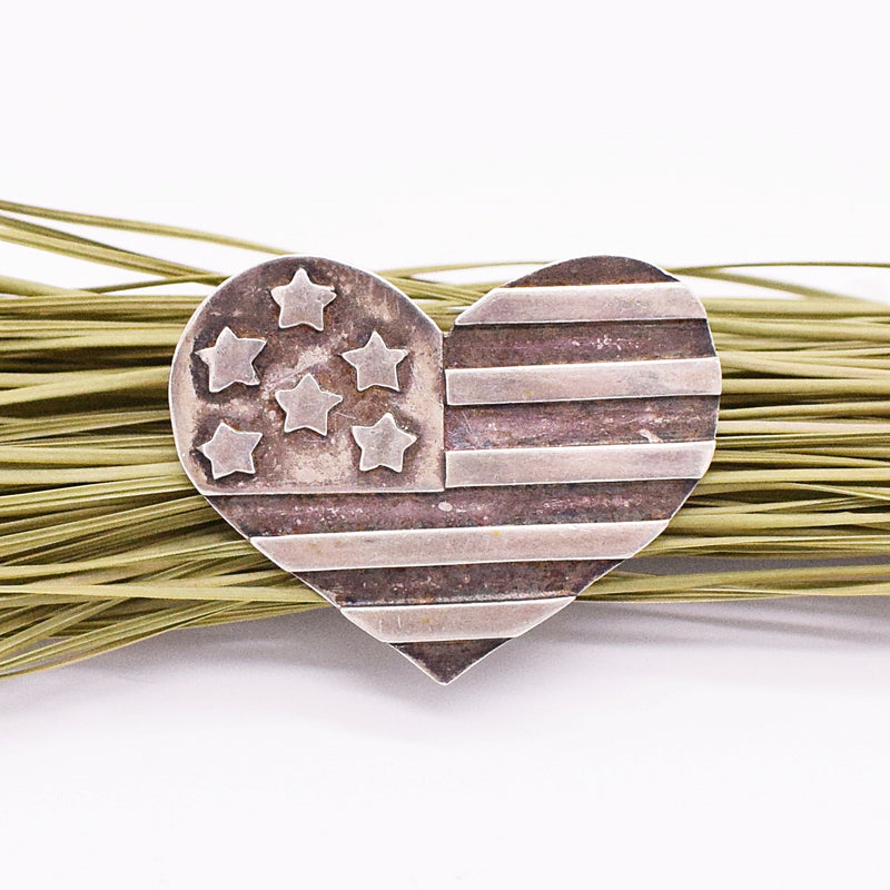 Sterling Silver 925 DONNA DALE Heart & American Flag Pin