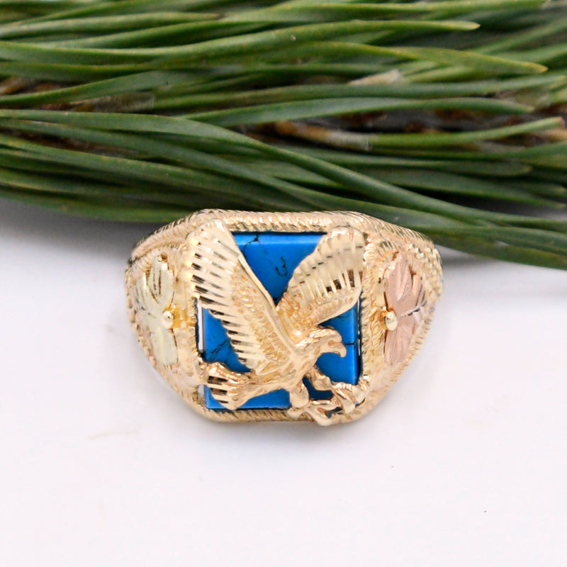 10k Tri/Multi Colored Gold Diamond Cut Turquoise Eagle Ring Size 12.25