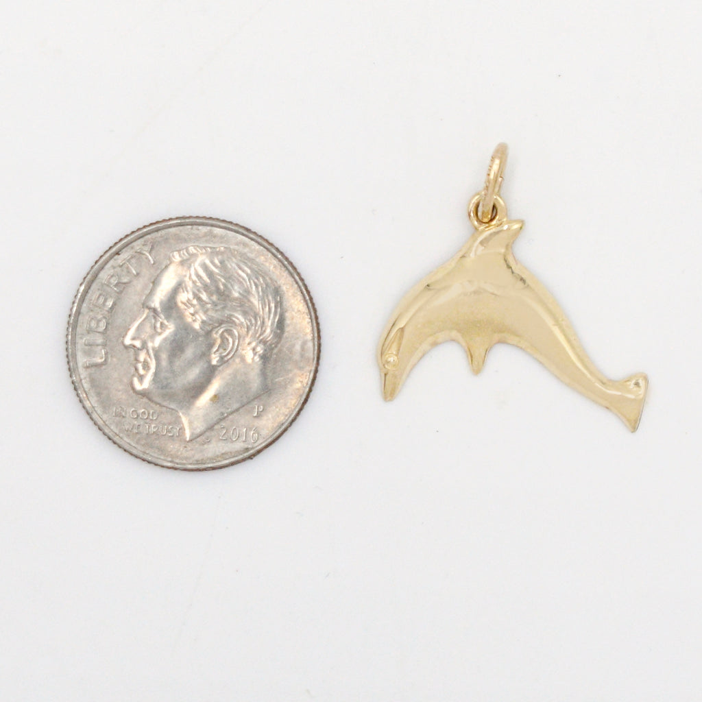 14k Yellow Gold Estate Jumping Dolphin Animal Pendant