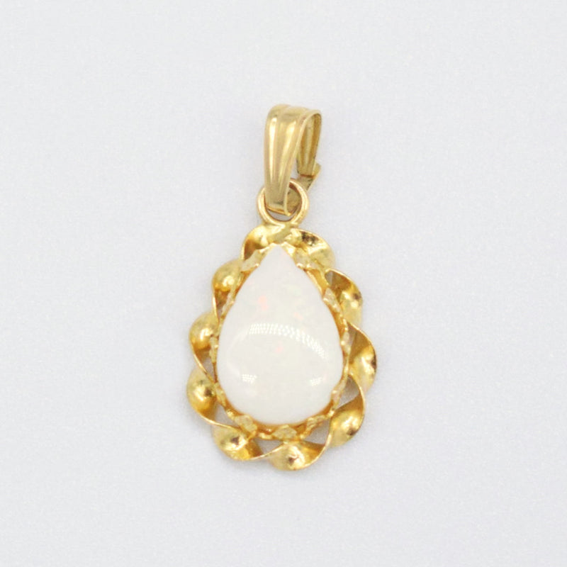 14k YG Twisted Teardrop Fire Opal Pendant