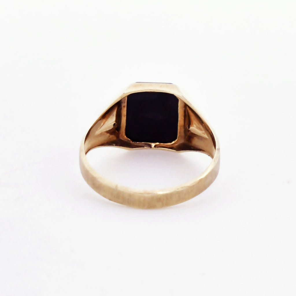 10k Yellow Gold Antique Textured Black Onyx & Diamond Ring Size 10