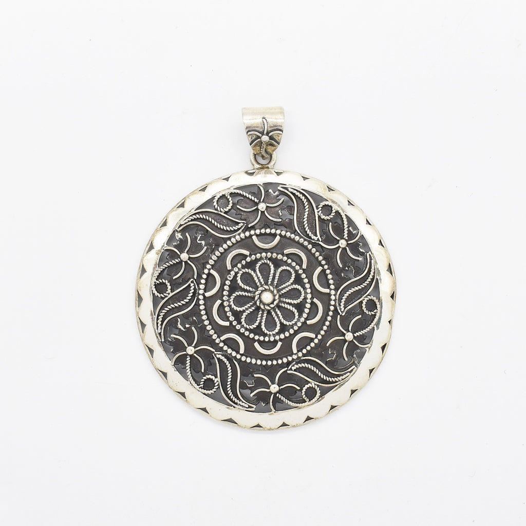 Sterling Silver 925 Open Work Fancy Circle Disc Drop/Dangle Pendant