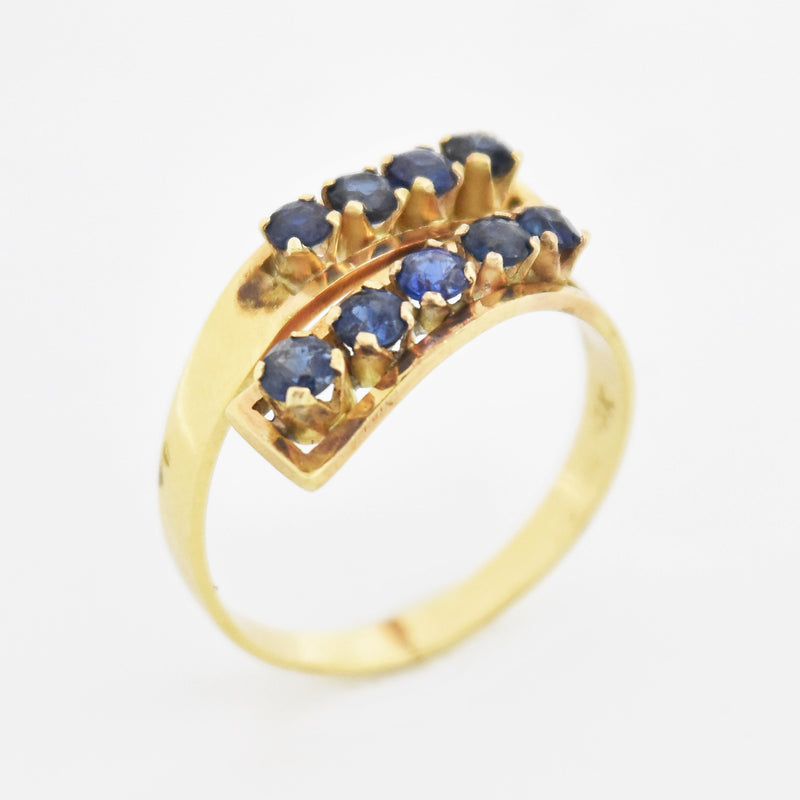 14k Yellow Gold Estate Sapphire Wrap Ring Size 7