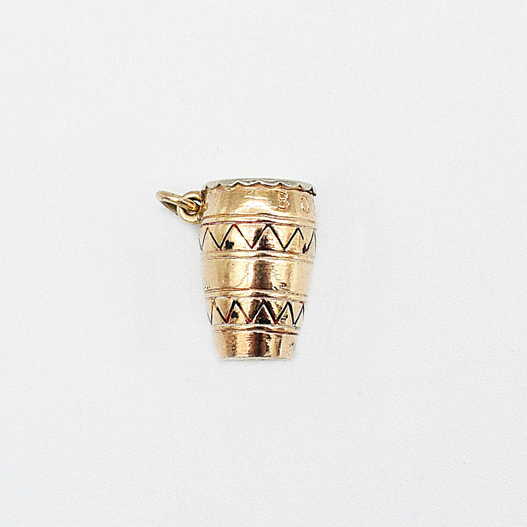 9ct Yellow Gold Incised Bongo/Drum Charm Pendant
