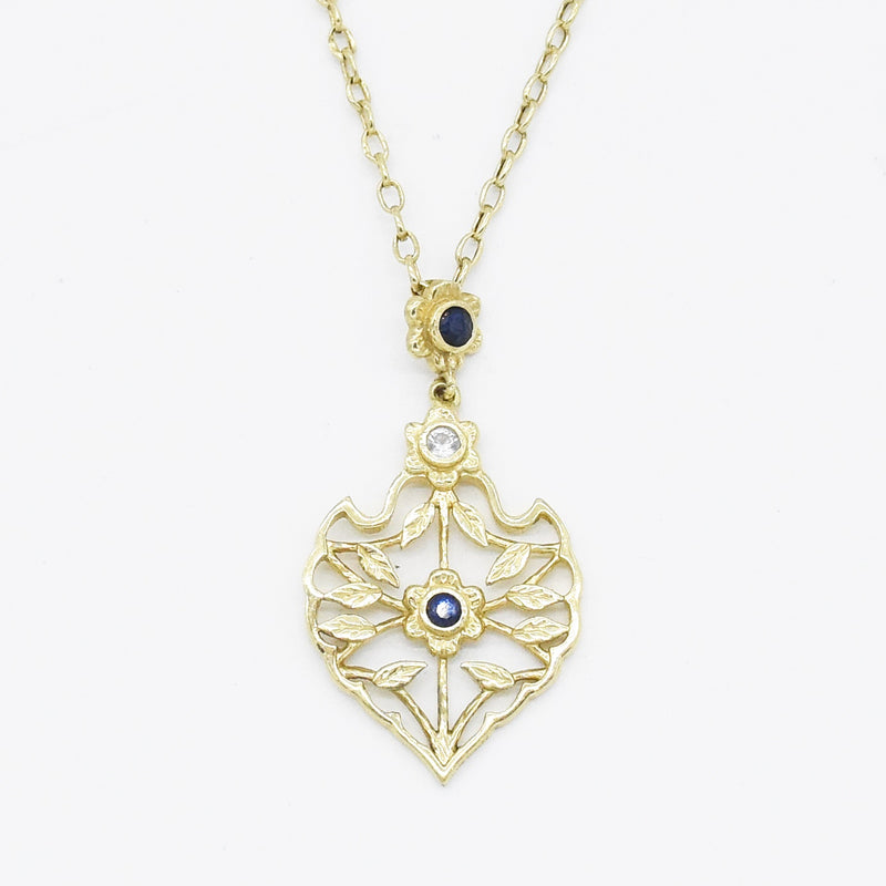 "14k Yellow Gold Estate 18"" Blue & White Sapphire Necklace"