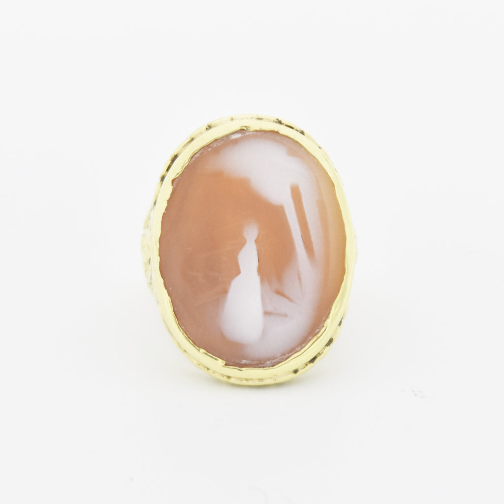 14k Yellow Gold Antique Carved Cameo Shell Ring Size 4