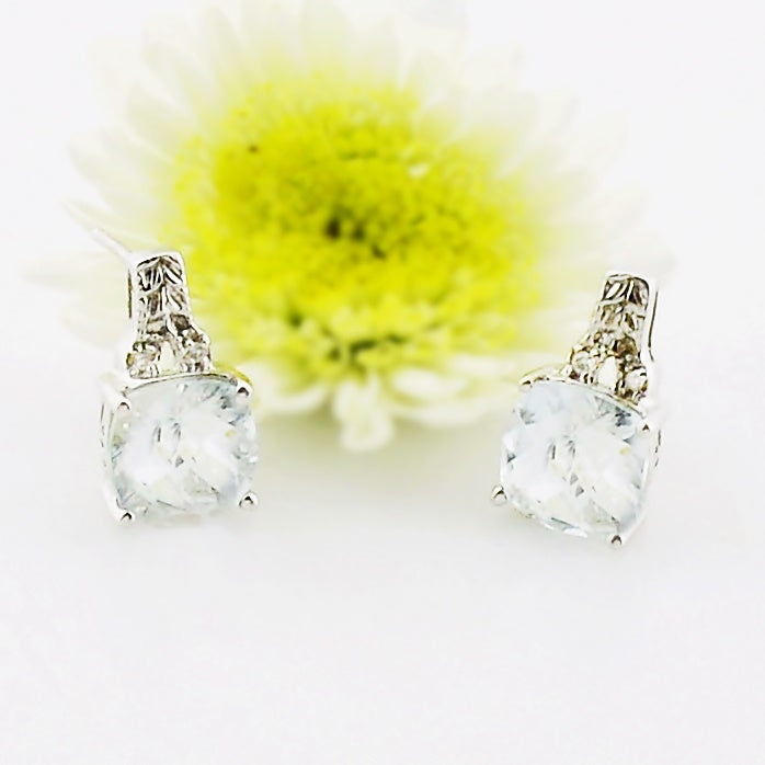 14k White Gold Estate Aquamarine & Diamond Post Earrings