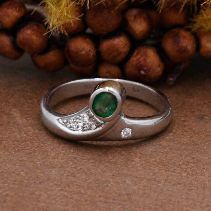 14k White Gold Estate Emerald & Diamond Crown Style Ring Size 7.5