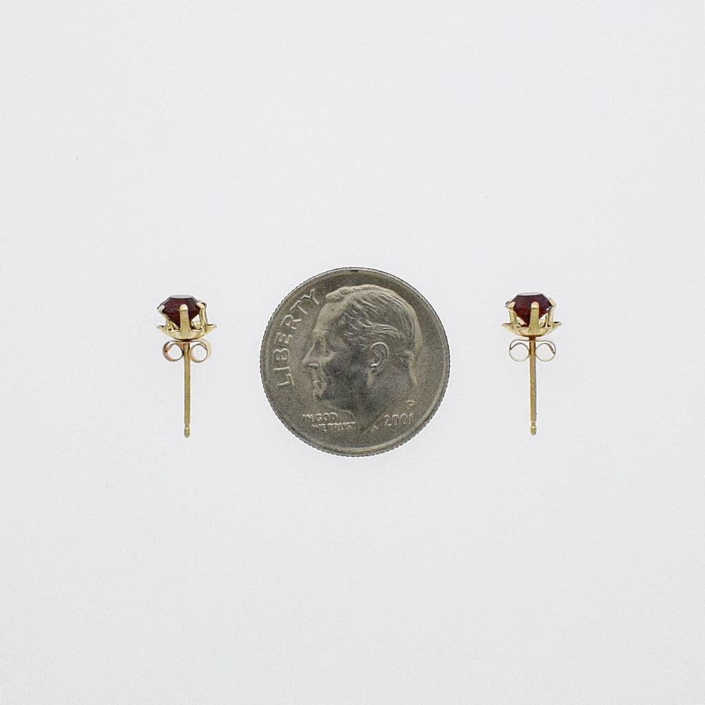 14k Yellow Gold Estate Red Gem Post Earrings