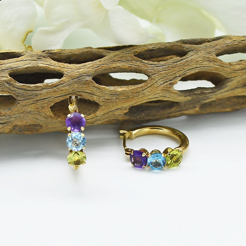 "14k Yellow Gold Estate Multi-Colored Gemstone 1/2"" Hoop Earrings"