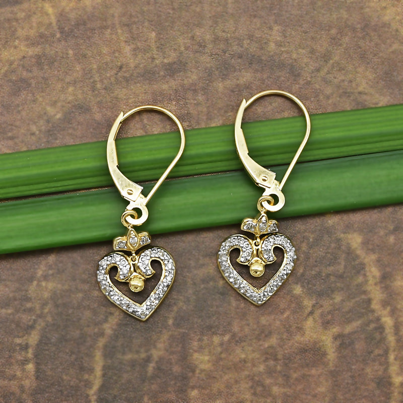 14k Yellow & White Gold Estate Open Diamond Heart Leverback Earrings