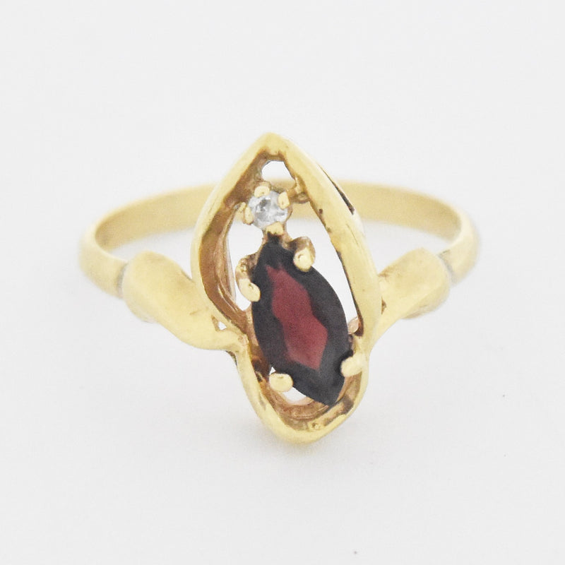 14k Yellow Gold Estate Garnet & Diamond Swirl Ring Size 6.25