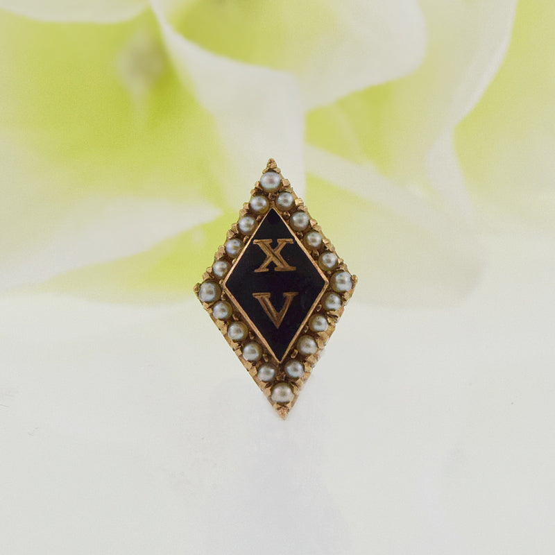 14k Yellow Gold Antique Black Enamel & Pearl Lambda Chi Pin/Pendant
